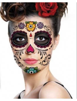 sticker tattoo skull face mexique fantôme halloween tahiti fenua shopping