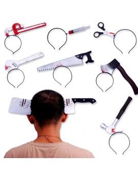 serre-tête sanglant outils couteau seringue hâche scie marteau ciseau halloween tahiti fenua shopping