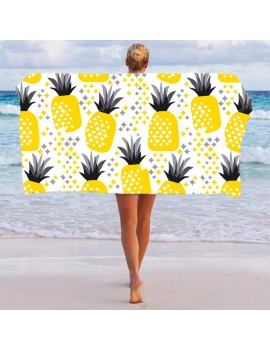 serviette painapo pineapple ananas jaune gris blanc plage polyester pool party towel tahiti fenua shopping