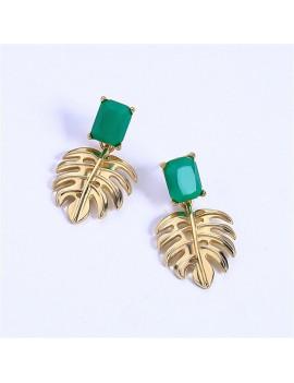 boucles d'oreilles green apé dorée tropical feuille bijoux tahiti fenua shopping