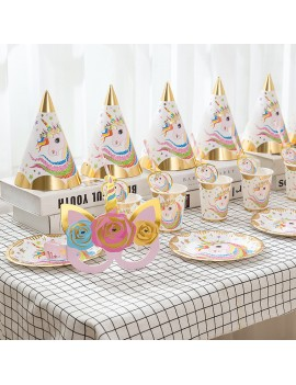 kit fête licorne gold 6 invités anniversaire party unicorn tahiti fenua shopping