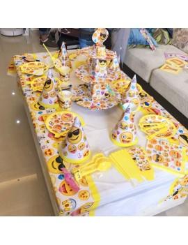 kit fête emoji smiley anniversaire kids assiettes chapeaux serviettes tahiti fenua shopping