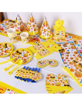 kit fête emoji smiley anniversaire kids assiettes chapeaux serviettes tahiti fenua shopping