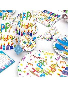 kit fête happy birthday 6 invités anniversaire enfant kids bleu tahiti fenua shopping