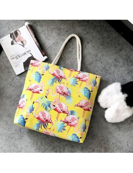 sac plage tropic beach bag flamant rose jaune violet mauve flamingo tropical tropiques tahiti fenua shopping