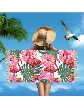 serviette plage flamingo beach towel tropical tropic doux mer sun summer tahiti fenua shopping