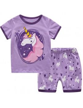 pyjama licorne mauve rose fille kids doux coton tahiti fenua shopping