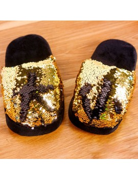 chaussons pantoufles sleeper sequins sparkle gold doré tahiti fenua shopping