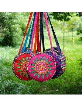 sac rond color rose pink orange blue bleu bag flower fleurs femme girl bandoulière tissu bohemian tahiti fenua shopping