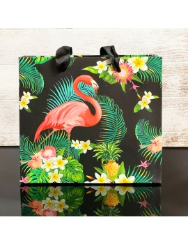 sachet cadeau flamingo tropic noir flamant rose tropicale tropical gift bag black tahiti fenua shopping