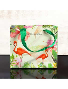 sachet cadeau flamingo tropic vert flamant rose tropicale tropical gift bag green tahiti fenua shopping