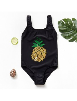 maillot tropiques ananas enfant kids noir pineapple painapo sequins plage beach pool time tahiti fenua shopping
