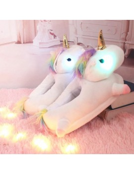 chaussons licorne light unicorn lumiere lumineux doux confort fun unicorn slippers tahiti fenua shopping
