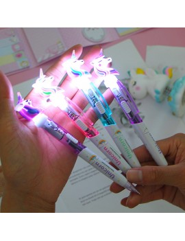 stylo licorne light bleu rose violet unicorn pen papeterie light lumineux lumiere écrire école girls kids tahiti fenua shopping