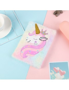 notebook fluffy rainbow unicorn licorne doux peluche papeterie école carnet notes écrire tahiti fenua shopping