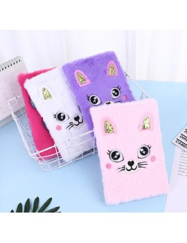 notebook fluffy cat chat rose pink pastel doux peluche papeterie école carnet notes écrire tahiti fenua shopping