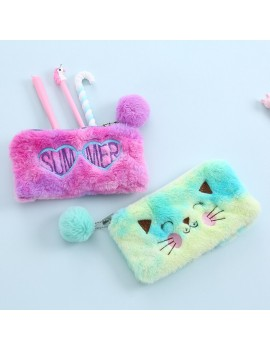 trousse fluffy chat rose summer pink rangement accessoire bag pen stylo papeterie plush doux tahiti fenua shopping