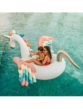 bouée matelas licorne XXL géant unicorn pool float rainbow piscine plage beach summer tahiti fenua shopping