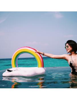 bouée bar rainbow arc en ciel pool float glass verres gobelet piscine plage beach tahiti fenua shopping