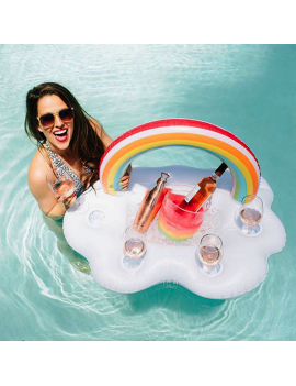 bouée bar rainbow arc en ciel pool float glass verres gobelet piscine plage beach tahiti fenua shopping