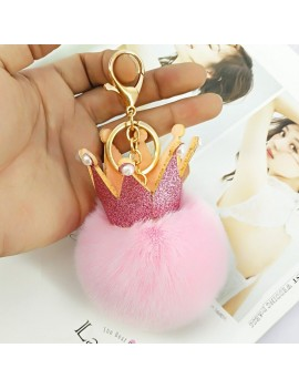 porte-clés pompon keyring keychain queen royal doux fluffy rose pink blanc white accessoires tahiti fenua shopping