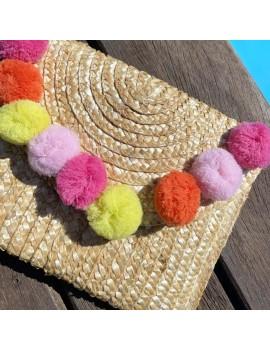 sac rectangle pompon color couleurs cute tendance bag chic accessoire summer tahiti fenua shopping