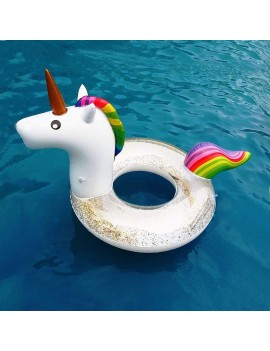 bouée licorne anneau glitters paillettes doré or gold unicorn pool float piscine plage beach tahiti fenua shopping