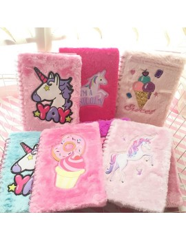 notebook spirale fluffy doux poil cahier notes école licorne unicorn papeterie tahiti fenua shopping