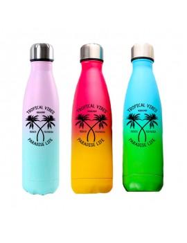 bouteille tropical vibes gradient dégradé colors mate isotherme fresh boisson drink acier inoxydable tahiti fenua shopping