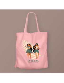 tote bag coton ia ora na pink rose sac souvenir tahiti polynésie island paradise beach vibes tropic fenua shopping