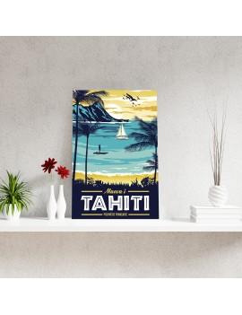 toile A2 tahiti vintage polynésie souvenir cadeau peinture dessin chassis déco deco maison fenua shopping