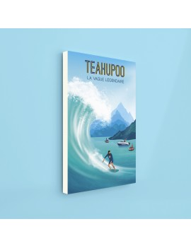 toile tahiti A2 Teahupoo plage surf surfing beach polynésie art déco maison blue fenua shopping
