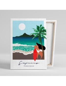 toile A3 sapinus plage surf vahine vintage polynésie déco maison salon tahiti fenua shopping