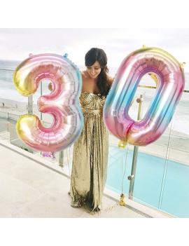 ballon chiffre rainbow color number numéro multicolore géant fête party tahiti fenua shopping