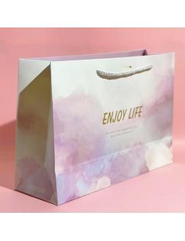 sachet cadeau pink rainbow watercolor enjoy life gift bag anniversaire fête party birthday tahiti fenua shopping