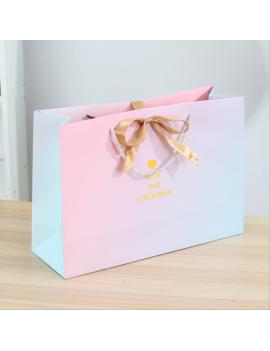 sachet cadeau pink rainbow gift bag cartonné rich colorful anniversaire birthday tahiti fenua shopping