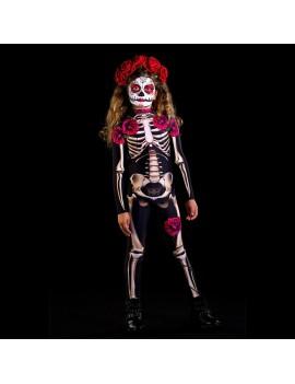 combinaison squelette girl kids enfant lady muerta skull costume deguisement halloween tahiti fenua shopping