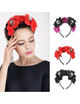 serre-tête muerta girl headband halloween skull fleur flower tahiti fenua shopping